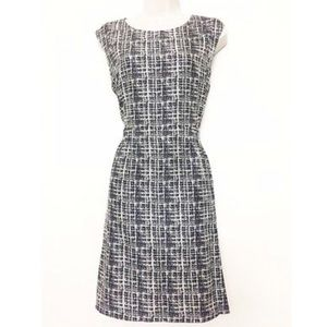 Theory Shyann Navy Abstract Plaid Silk Dress 2